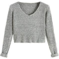 SheIn Women's V Neck Long Sleeve Crop Sweater (Grey, One Size)