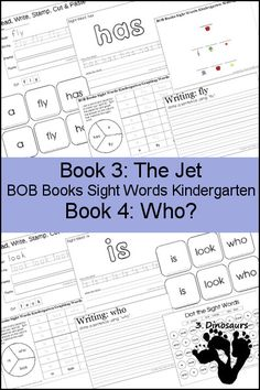 Early Reading Printables BOB Books Sight Words Kindergarten Book 3 & 4 - sight words: a, fly, has, is, look, who - 3Dinsoaurs.com