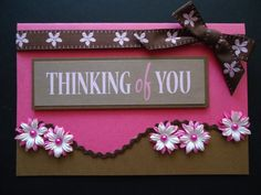 Thinking of you. Handmade card, pretty in pink & brown with Gladiolus flowers, can be personalized.