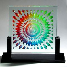 Spiral Mandala - Carved and Painted Glass Sculpture