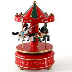 Carousel Music Box Horse Vintage Musical Plays Wooden Merry-Go-Round Fair Waltz