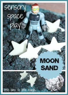 Space Eclipse - Moon sand is a quick and easy recipe to make for sensory play! Our moon sand space sensory play is perfect for indoor and outdoor play anytime! Space Preschool, Space Activities, Preschool Science, Sensory Activities, Activities For Kids, Planets Preschool, Kindergarten Inquiry, Science Week, Preschool Ideas