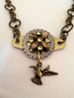 Hummingbird Gear Necklace or Wrap Bracelet on Etsy, $20.00