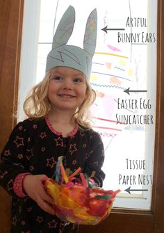 Easter crafts from The Artful Spring eBook including Artful Bunny Ears, Easter Egg Suncatcher, and a Tissue Paper Nest.