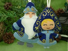 Купить Комплект из фетра Дед Мороз и Снегурочка - Новый Год, фетр, Дед Мороз и Снегурочка