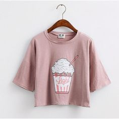 MERRY PRETTY CROP TOP LOOSE SLEEVES ICE CREAM KOREAN STYLE LOOSE... (1885 ALL) ❤ liked on Polyvore featuring tops and t-shirts