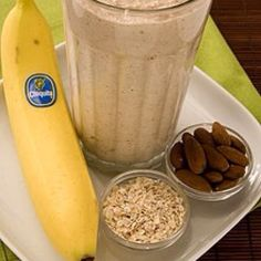 Power packed breakfast: Cooked oatmeal, banana, almonds and yogurt smoothie. Add a tbsp of peanut butter for added smoothness.