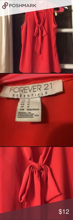 Tie neck Blouse Fire red tie neck sleeveless Blouse Forever 21 Tops Blouses