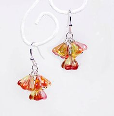 sparkly earrings orange-red jewelry small flower earrings dangle drop summer jewelry gifts niece valentine gift ideas gifts for her пя63