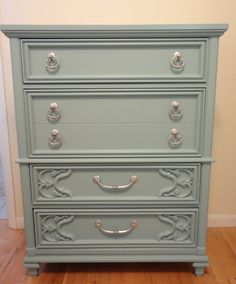 Dresser Refinished in Sherwin Williams Drizzle paint.