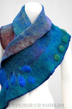 Nuno Felted Scarf teal blue green purple by FeuerUndWasser