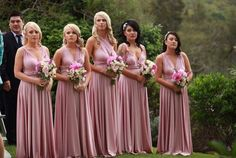 We get a lil excited &  seeing our bridal party photos looking absolutely gorgeous! Here's a sneak peak of Emma's bridesmaids wearing their @goddessbynature signature ballgown in the beautiful Dust Me Pink colour. Stockist: Fashionably Yours