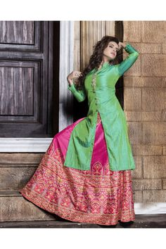 Festival Wear Readymade Green Kurti With Skirt - 16256