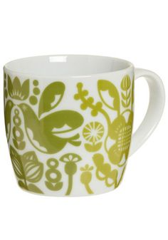 Cup O' Retro Kitchen Mug. As the office gathers for the daily meeting, everyone will know whose mug that is at the conference table. #green #modcloth