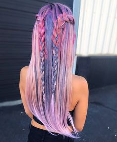 Trendy Hair Color Crazy Pastel Braids 23 Ideas - Most stylish hairstyles Cute Hair Colors, Hair Dye Colors, Cool Hair Color, Amazing Hair Color, Gorgeous Hair, Loose Hairstyles, Pretty Hairstyles, Braided Hairstyles, Hairstyle Ideas