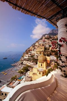 A dramatic view, Italian village of Positano,. Pictures just don't do it justice. Positano is one of my favorite towns along the amalfi coast. Places Around The World, Oh The Places You'll Go, Places To Travel, Places To Visit, Vacation Destinations, Dream Vacations, Holiday Destinations, Vacation Places, Vacation Spots