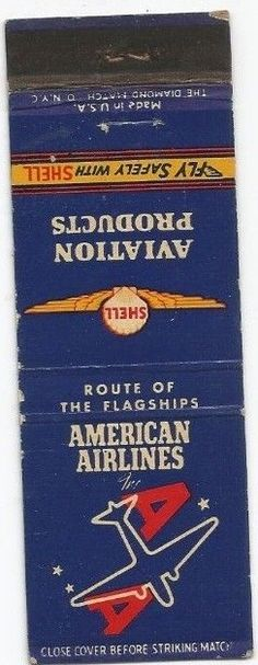 American Airlines 1950's #matchbook To design & order your business' own advertising #matches GoTo GetMatches.com