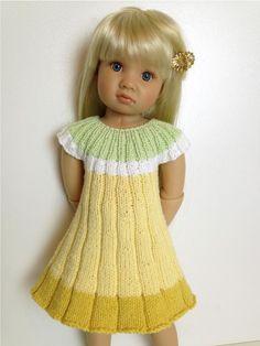 (6) Name: 'Knitting : FLOWER dress 18' Doll Knit Pattern