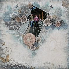 """Crazy for You"" Layout by Tracey Sabella for Donna Salazar: Mixed Media, Handcrafted Flowers, Stamping, Pan Pastels, Clearsnap, Spellbinders, Art Gone Wild, Want2Scrap, Helmar, Tutorial for Open Lace Rose: http://gracescraps.blogspot.com/2014/02/bride-mixed-media-layout-for-donna.html, Tutorial for Bitty Blossoms Flowers: http://gracescraps.blogspot.com/2013/10/thanks-bunch-for-donna-salazar-designs.html"