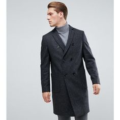 Heart & Dagger Double Breasted Wool Mix Overcoat (395 BGN) ❤ liked on Polyvore featuring men's fashion, men's clothing, men's outerwear, men's coats, grey, mens gray pea coat, mens double breasted coat, mens fur lined coat and mens grey coat