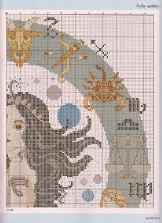 Borduurpatroon Sterrenbeeld Kruissteek *X-Stitch Pattern Zodiac ~Zodiac Design 3/5~