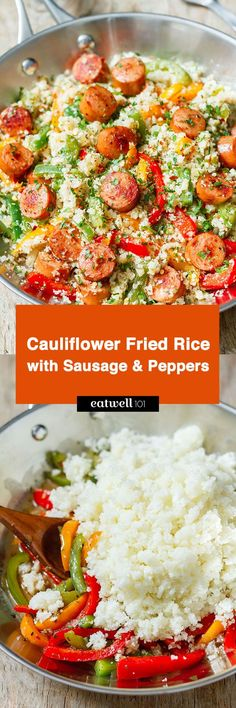 This hearty paleo cauliflower fried rice is brimming with textures and flavor. A nutritious blend of cauliflower, bell peppers, garlic, onion and smoked sausage is tossed with spices for a downrigh…