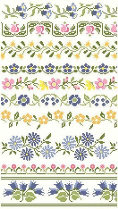 Good Cost-Free Cross Stitch borders Popular Ten decorative borders inspired by vintage textiles feature a variety of flowers in blues, pinks, a Cross Stitch Boarders, Cross Stitch Flowers, Cross Stitch Charts, Cross Stitch Designs, Cross Stitching, Cross Stitch Embroidery, Embroidery Patterns, Cross Stitch Patterns, Simple Embroidery