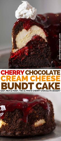 Cherry Chocolate Cream Cheese Bundt Cake - Dinner, then Dessert Cherry Chocolate Cream Cheese Bundt Cake is a rich, moist, chocolate cake with cherries and cream cheese, the ULTIMATE chocolate cherry dessert! Cherry Desserts, Köstliche Desserts, Delicious Desserts, Dessert Recipes, Cherry Cupcakes, Chocolate Cherry Cake, Chocolate Bundt Cake, Chocolate Desserts, Ultimate Chocolate Cake