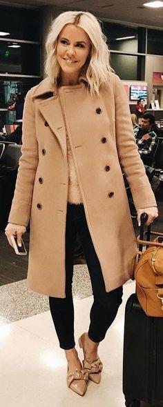 #winter #fashion /  Camel Coat & Knit   Black Pants   Nude Bow Pumps