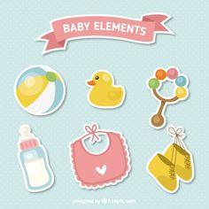 Set de bonitas pegatinas de accesorios de bebé  Vector Gratis