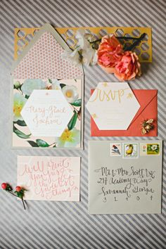 Southern Floral Modern Honey Bee Peach Wedding Invitation