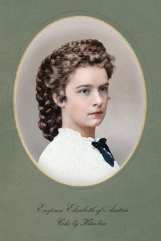 Empress Elisabeth of Austria, 1864 - Photographed by Ludwig Angerer at his studio. (Detail). Later on coloured.