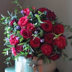The Real Flower Company Classic Valentine Red Rose and Herb Bouquet