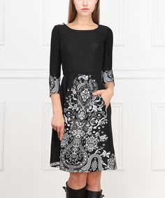 Love this Black & White Arabesque Fit & Flare Dress by Reborn Collection on #zulily! #zulilyfinds