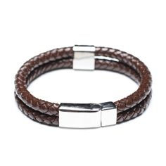 Coffee Black Leather Bracelet, Stainless Steel Clasp, 00595