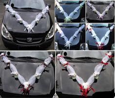 Hochzeitsdeko - Autoschmuck Hochzeit, Girlande, Rosen, Tauben - ein Designerstück von ModerneMutti bei DaWanda