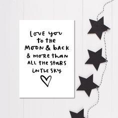 Monochrome nursery print, Love you to the moon and back, Minimalist nursery wall art, Black and White Nursery Decor by violetandalfie on Etsy
