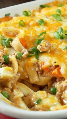 Turkey Noodle Casserole ~ Hot, bubbly, and real cheesy. This dish had everything one needs in a comforting casserole.