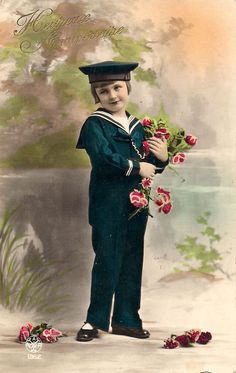 Vintage birthday card of a boy in sailor suit.