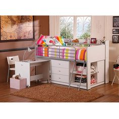 Savannah Storage Loft Bed with Desk, White - Walmart.com Pretty good deal, under $400 for multifunctional features.