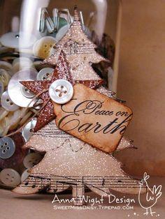Gorgeous Ornament; Buttons Decoupage, Glitter & Sheet Music....