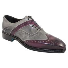 Emilio Franco Men's Italian Shoes Purple / Grey Oxfords (EF2032)