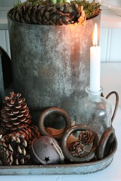Christmas setting. Old bottles for candle holders.