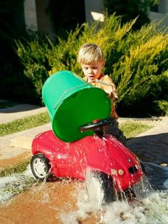 Turn your driveway into a toy car wash.