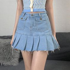 Skirts With Pockets, Mini Skirts, Pleated Skirt, Denim Skirt, Harajuku Fashion, Fashion Outfits, Cute Casual Outfits, Aesthetic Clothes, Winx Club