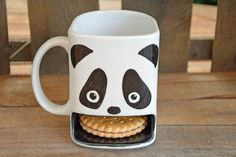 Lustige Kaffeetasse mit Pandamotiv und Keksfach / funny coffee mug with panda motive and cookie compartment made by Dreamceramics via DaWanda.com