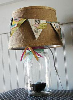 mason jar decorative lamp diy from redberrybarn.blogspot.com