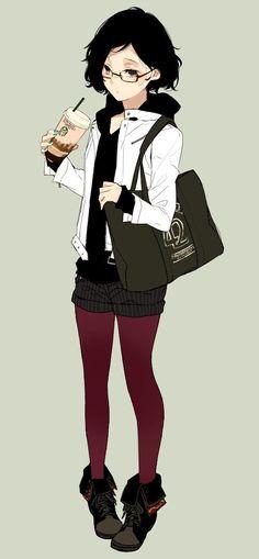 Garota Anime-bebida-óculos-fofa