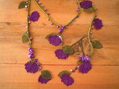 green and purple rose necklace crochet flower leaf by PashaBodrum, $34