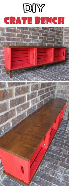 Pallet Furniture Projects Functional Furniture: Crate Bench Project - DIY wood crate projects offer endless possibilities for upcycling and repurposing. See the best ideas and designs and create your own! Functional Furniture, Repurposed Furniture, Pallet Furniture, Furniture Projects, Rustic Furniture, Home Furniture, Furniture Storage, Refurbished Furniture, Bedroom Furniture